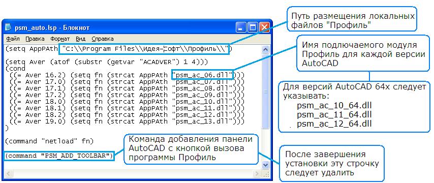 Файл автозагрузки программы в среду AutoCAD